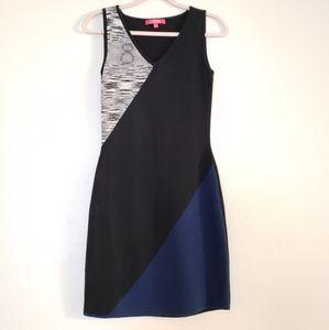 catherine malandrino V-neck colorblock knit dress